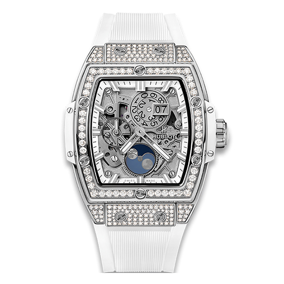 SPIRIT OF BIG BANG MOONPHASE TITANIUM WHITE PAVÉ