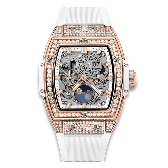 SPIRIT OF BIG BANG MOONPHASE KING GOLD WHITE PAVÉ