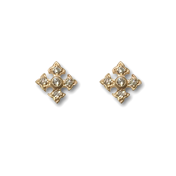 TINY FANCY CROSS STUD EARRING