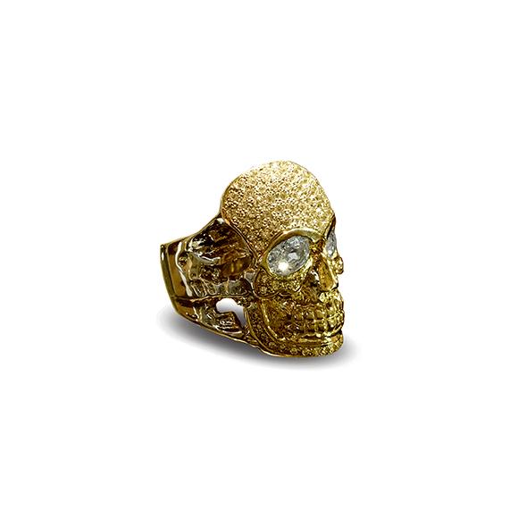 GIANT SKULL HEAD RING/IRREGULAR PAVE