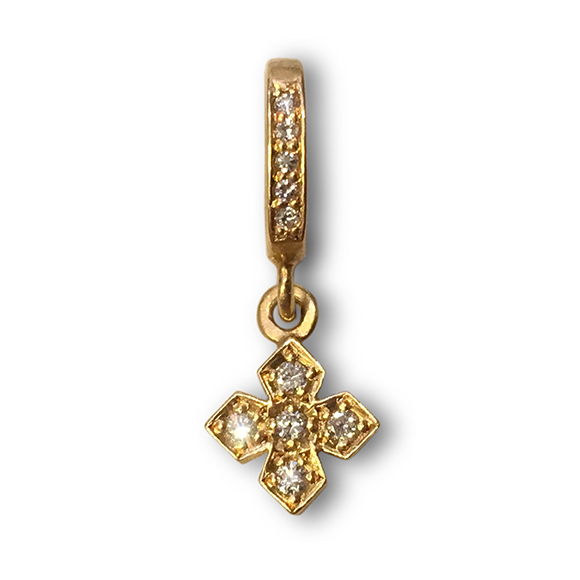 TINY ROUND PRINCESS CROSS PENDANT