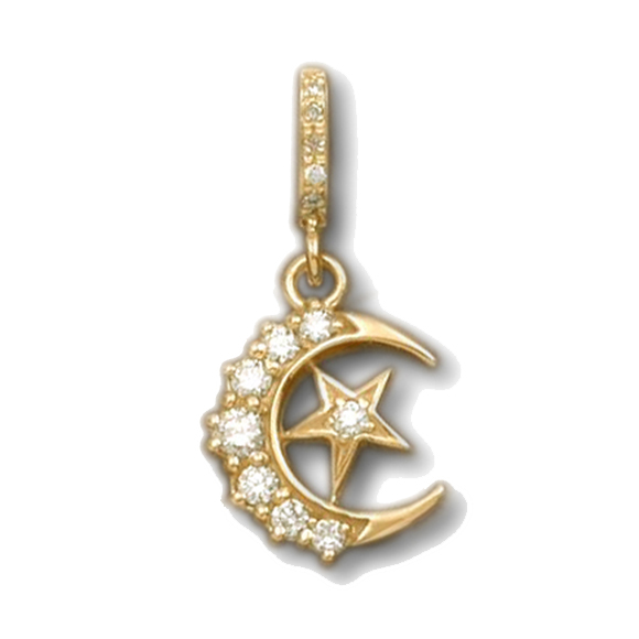 CRESCENT MOON/STAR PENDANT