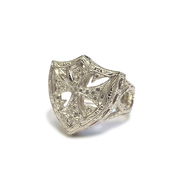 SMALL SHIELD RING ALL PAVE